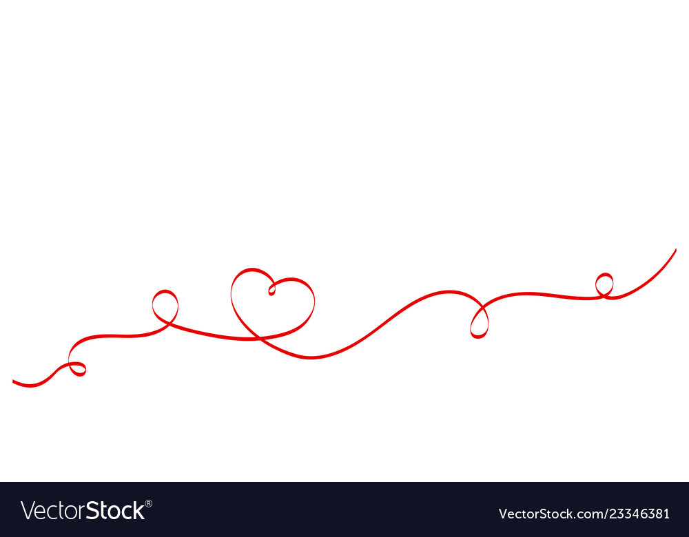 Calligraphy red heart ribbon on white background