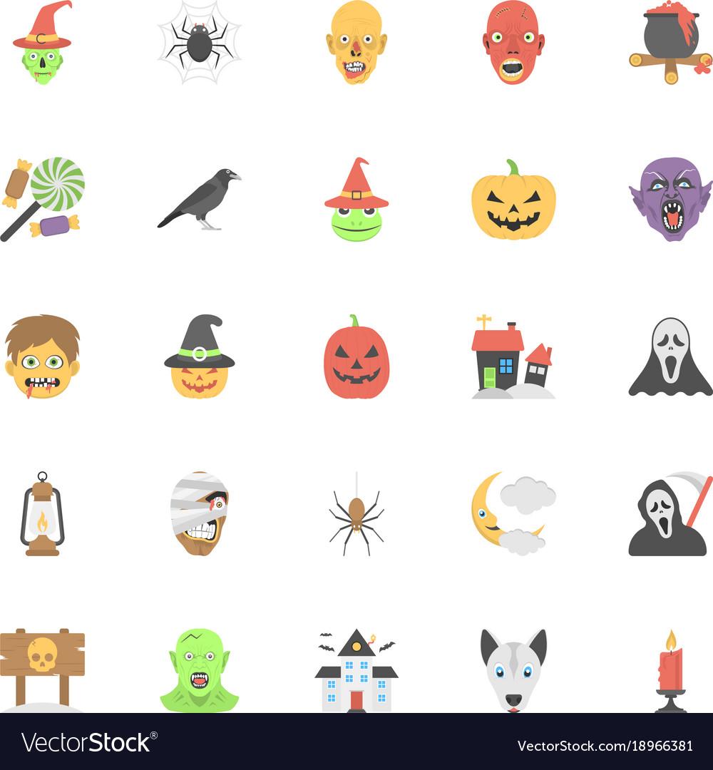 Flat icons halloween set