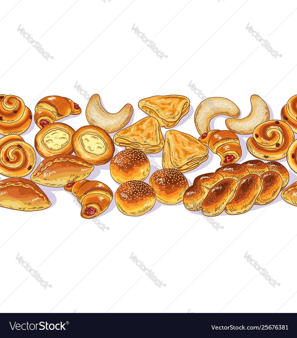 Seamless horizontal border with variety bakery