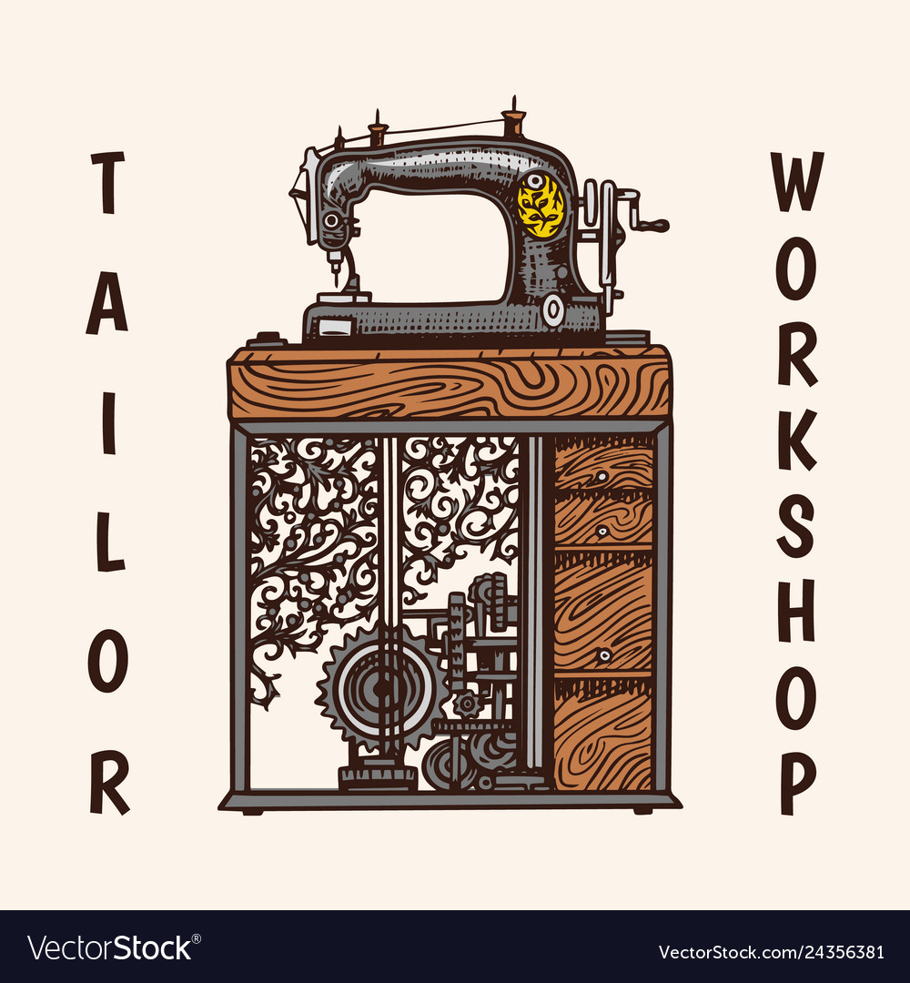 Sewing machine tailor shop badges label tool and