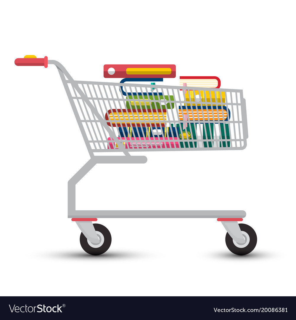 Shopping cart with books e-book store symbol
