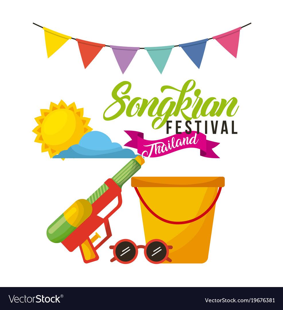 Songkran festival thailand bucket sunglasses water
