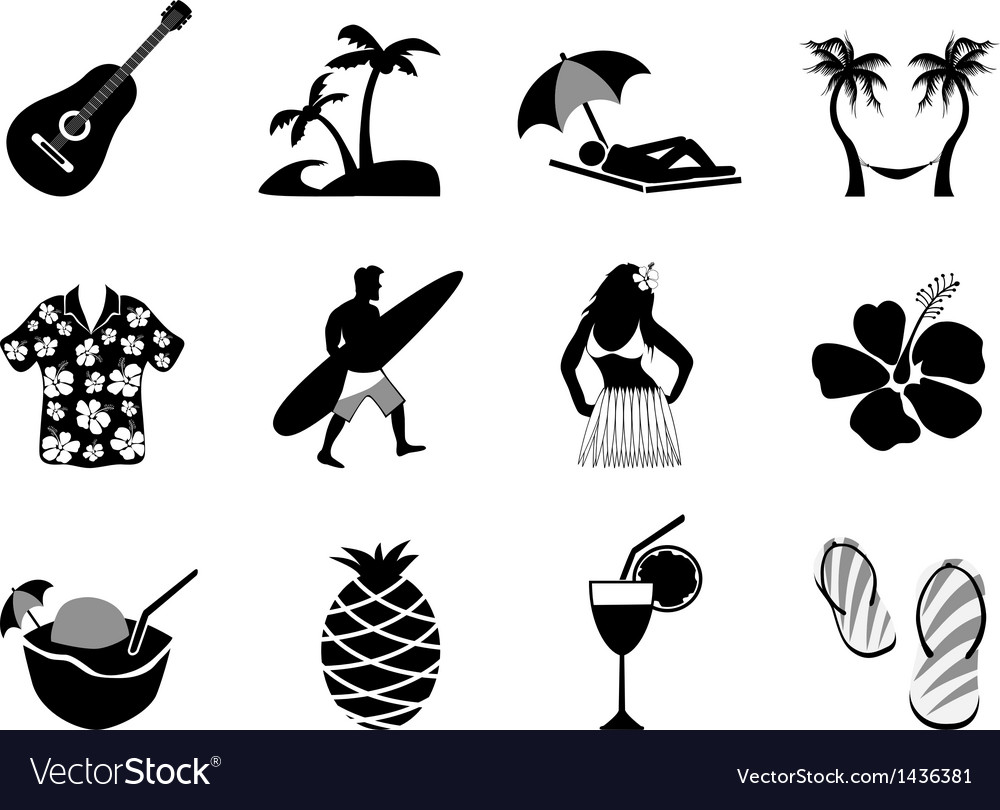 Tropical island and beach vacation icons set vector image