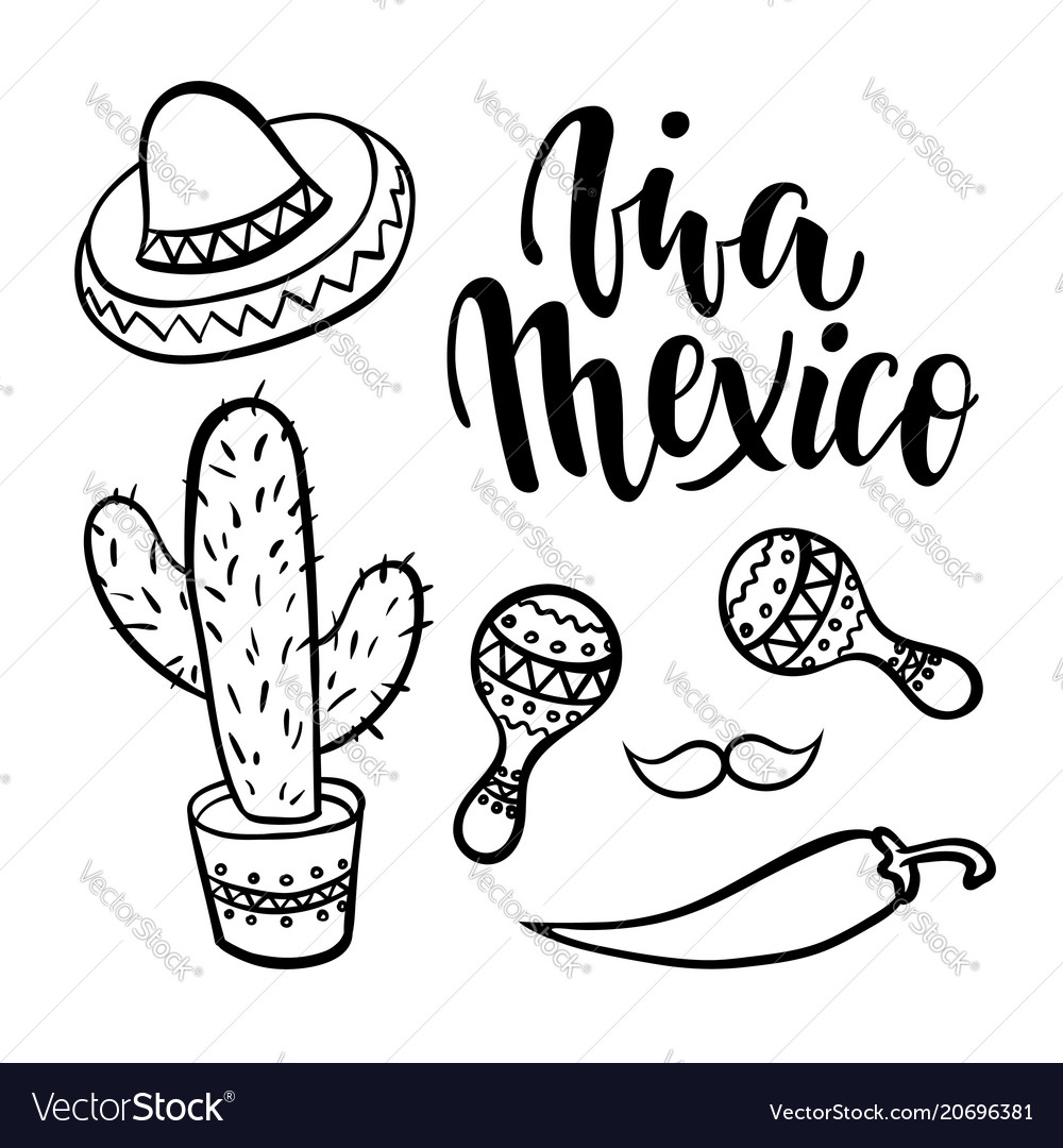 Viva mexico hand drawn lettering phrase with