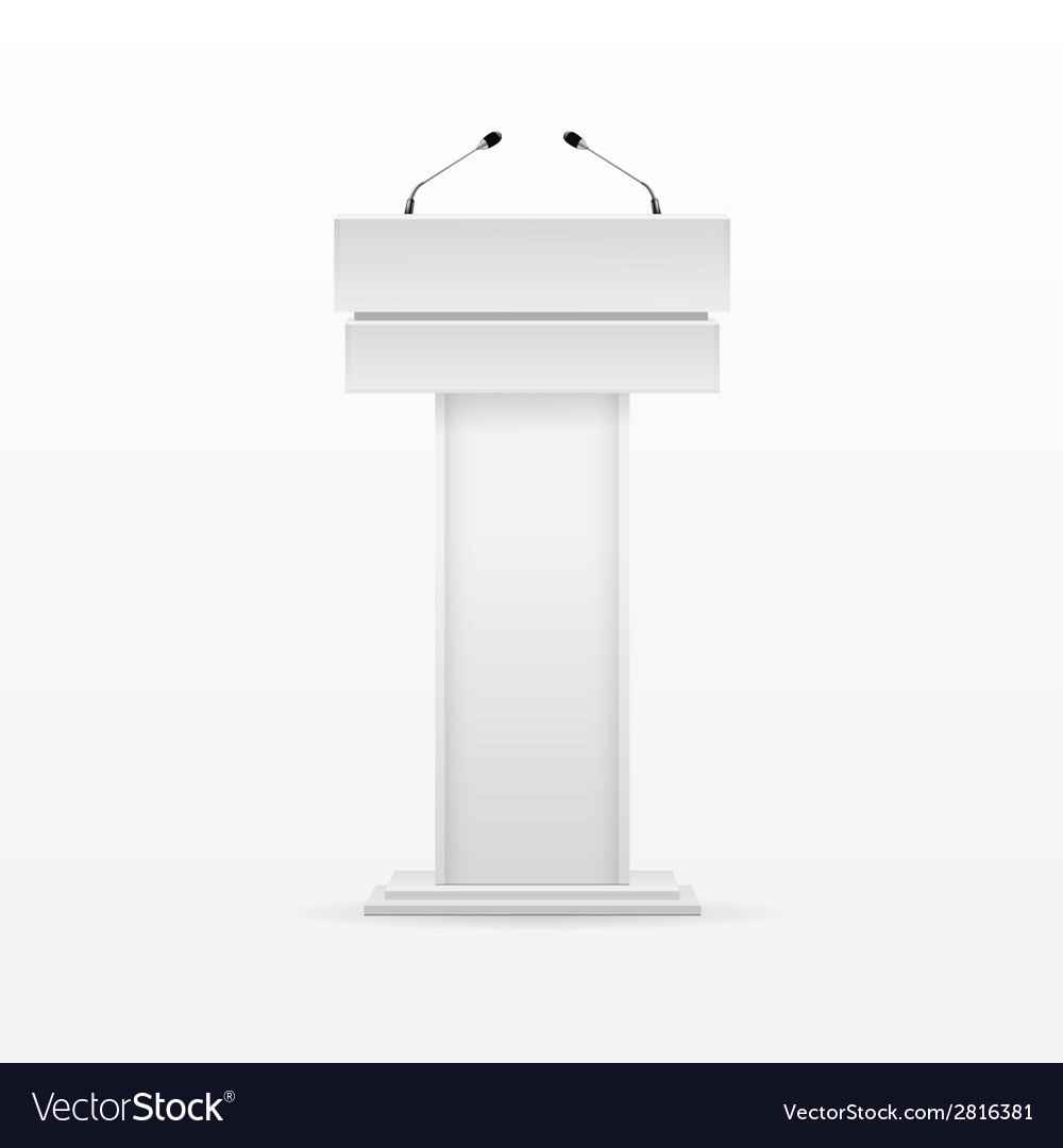 White Podium Tribune Rostrum Stand with Microphone vector image