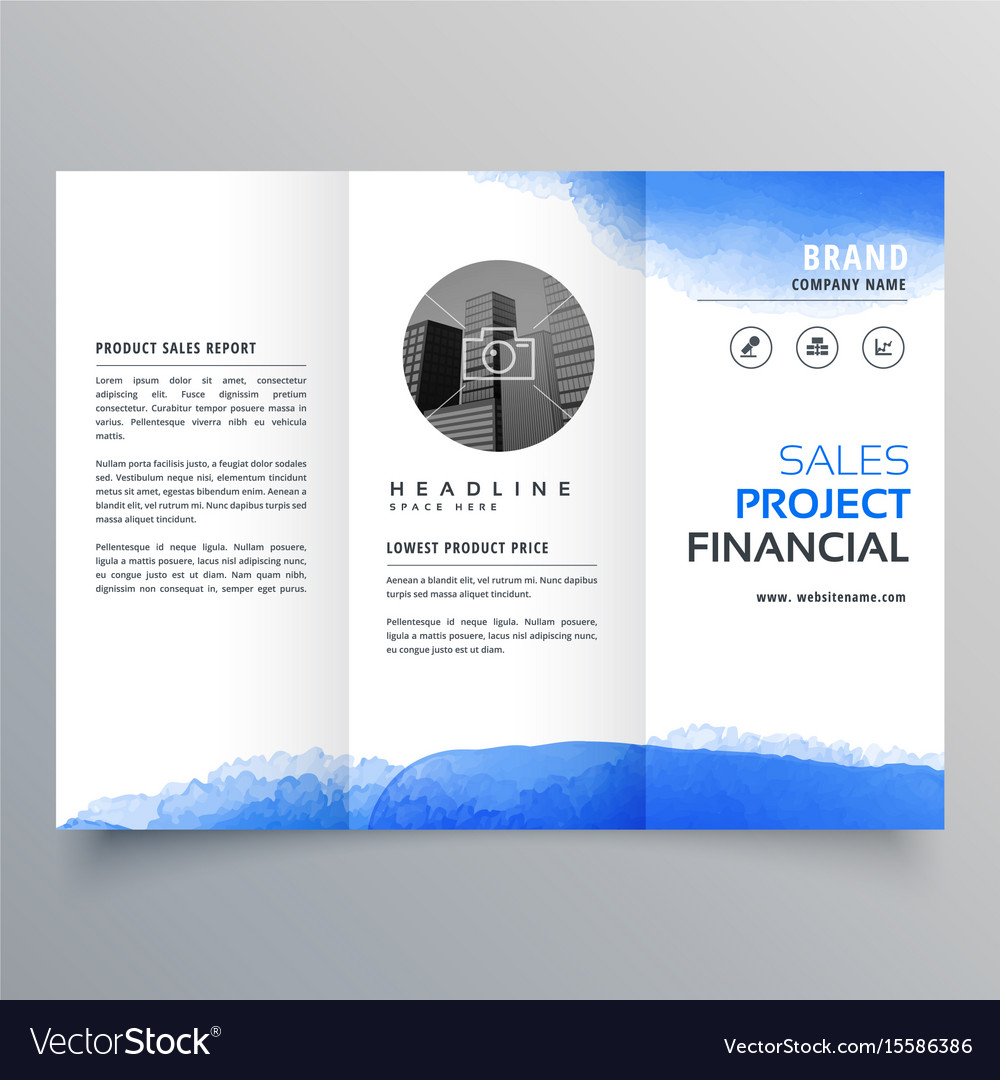 blue watercolor trifold brochure design template vector image