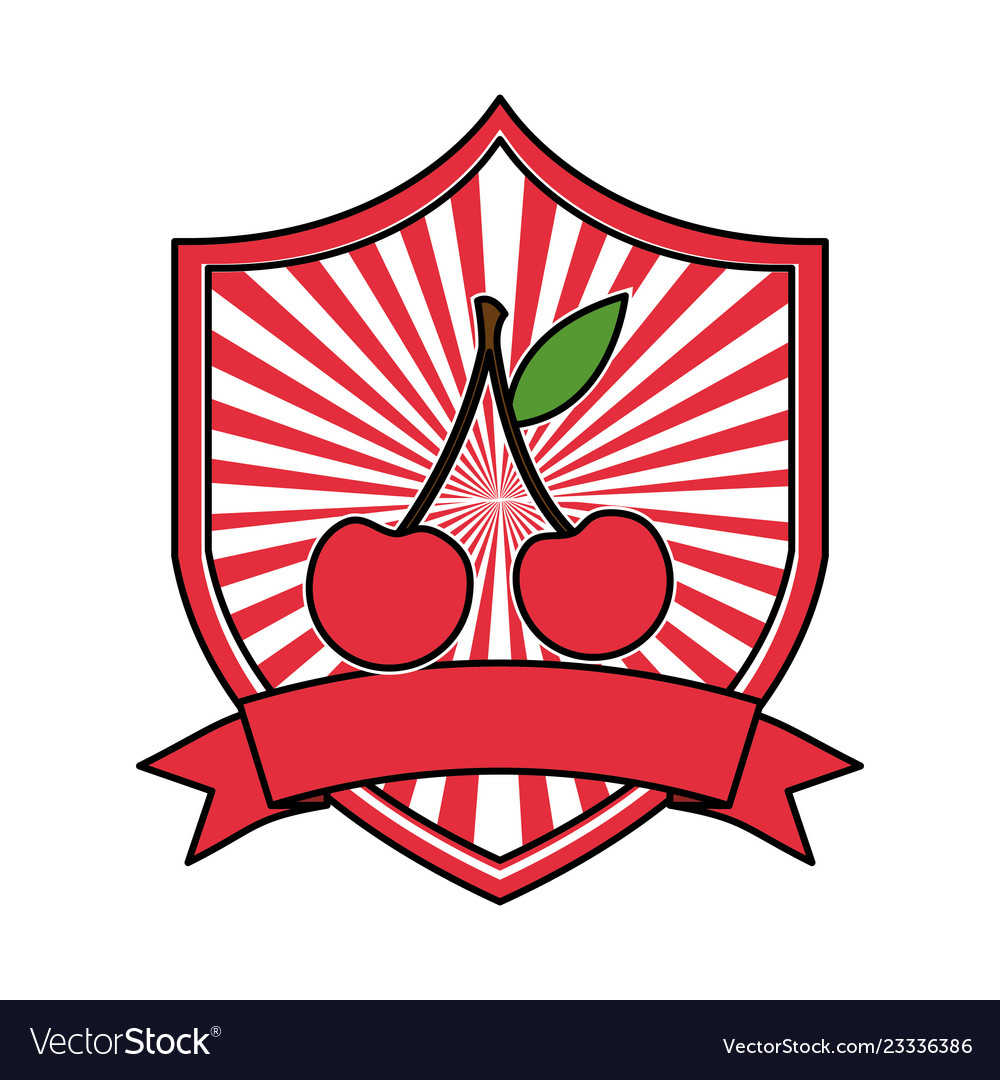 Cherry fresh healthy food emblem
