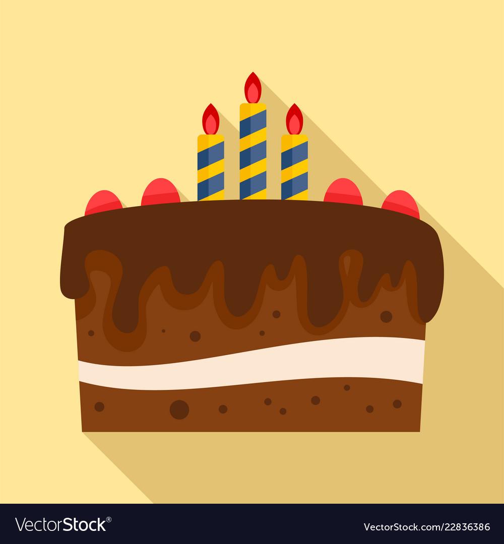 Chocolate cake icon flat style