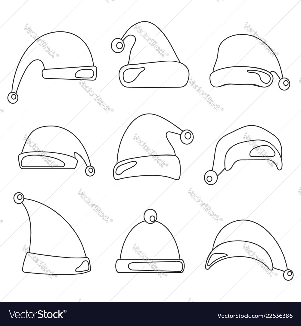 Christmas hat set santa claus hats line design
