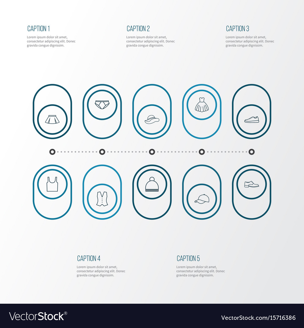 Dress outline icons set collection of waistcoat vector image