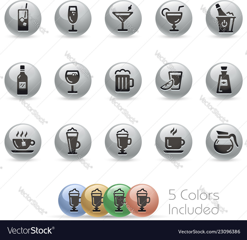 Drinks icons - metal round series