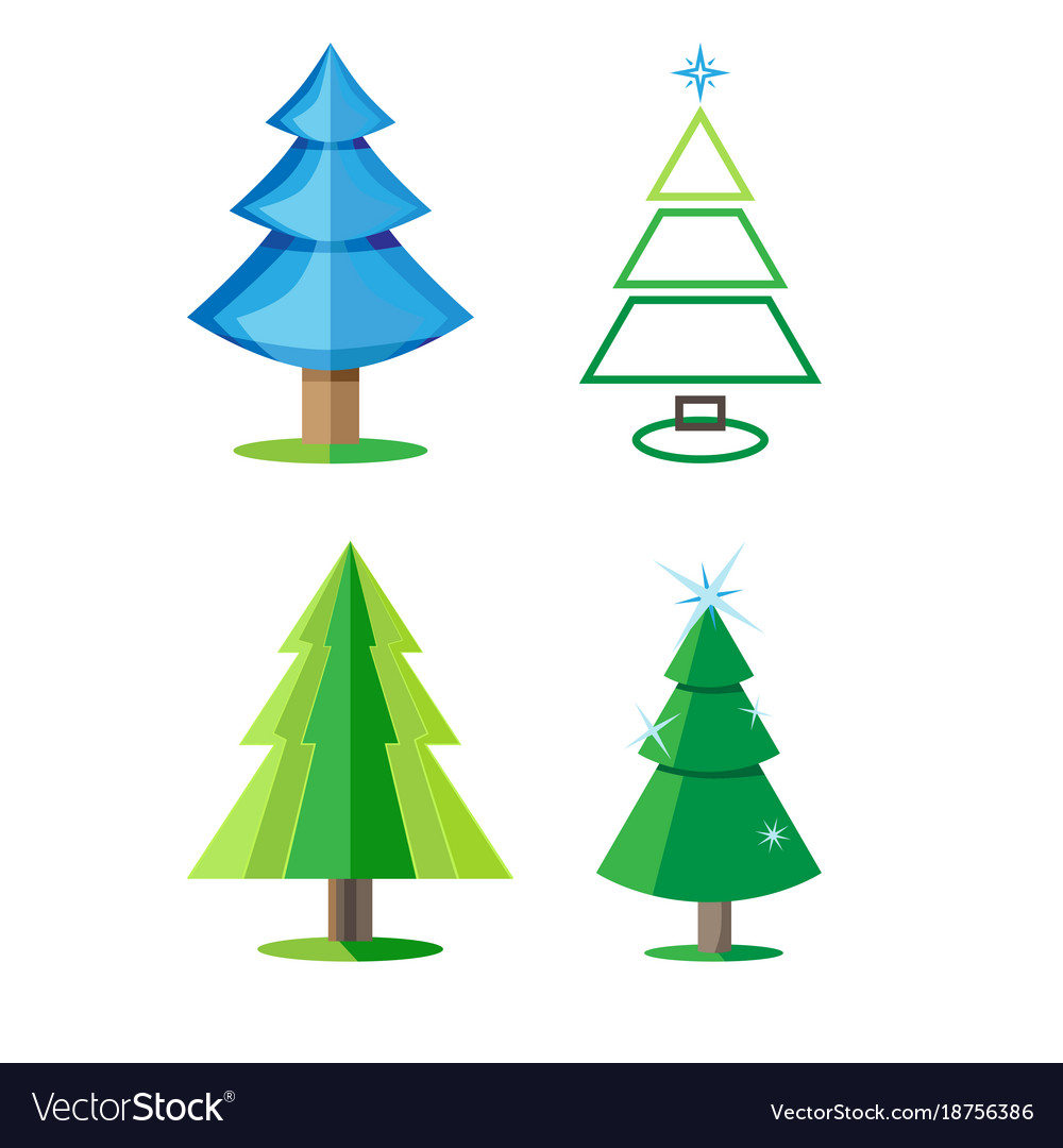 four varieties of christmas trees isolated the vector image