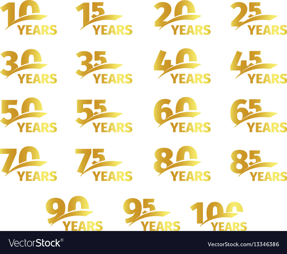 Isolated golden color numbers with word years