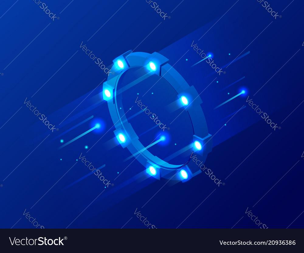 Isometric bright border magic portal luminous vector image