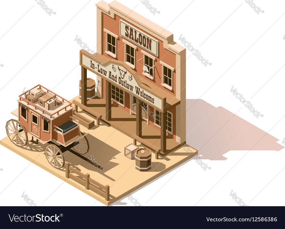 Isometric low poly wild west saloon vector image