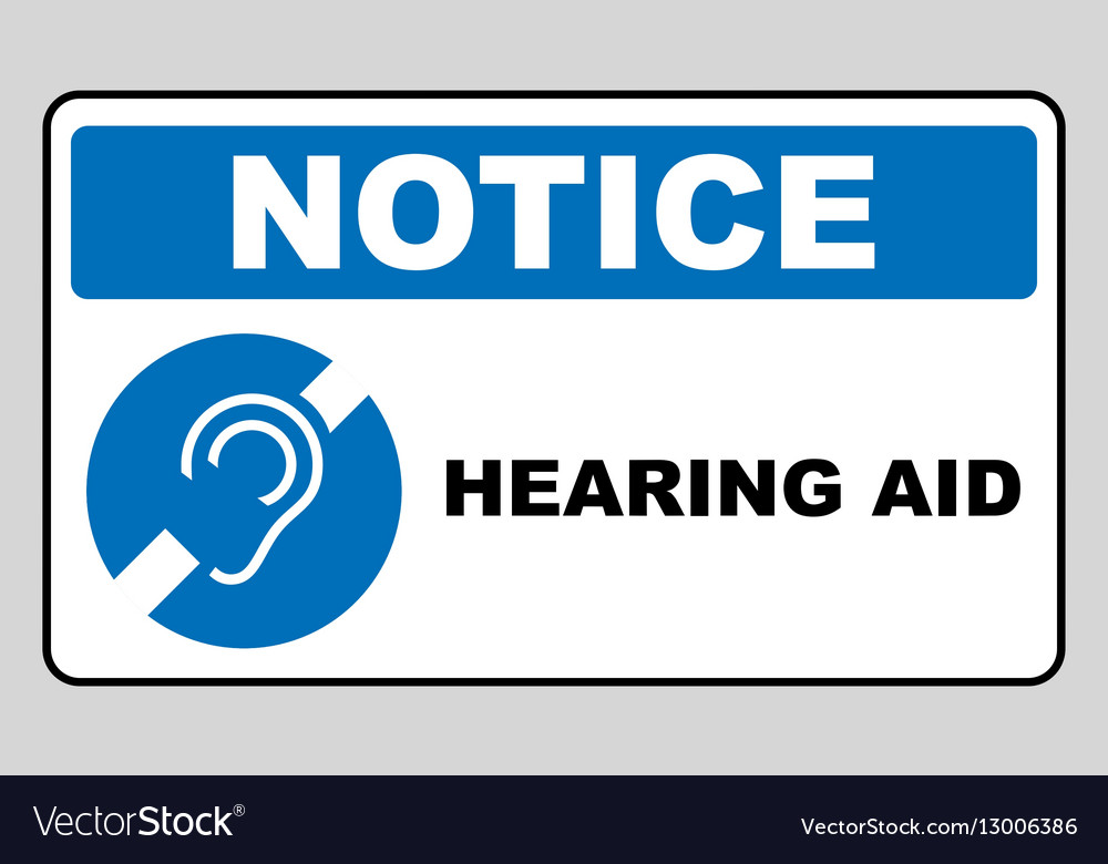 Notice symbol hearing aid banner Hearing support