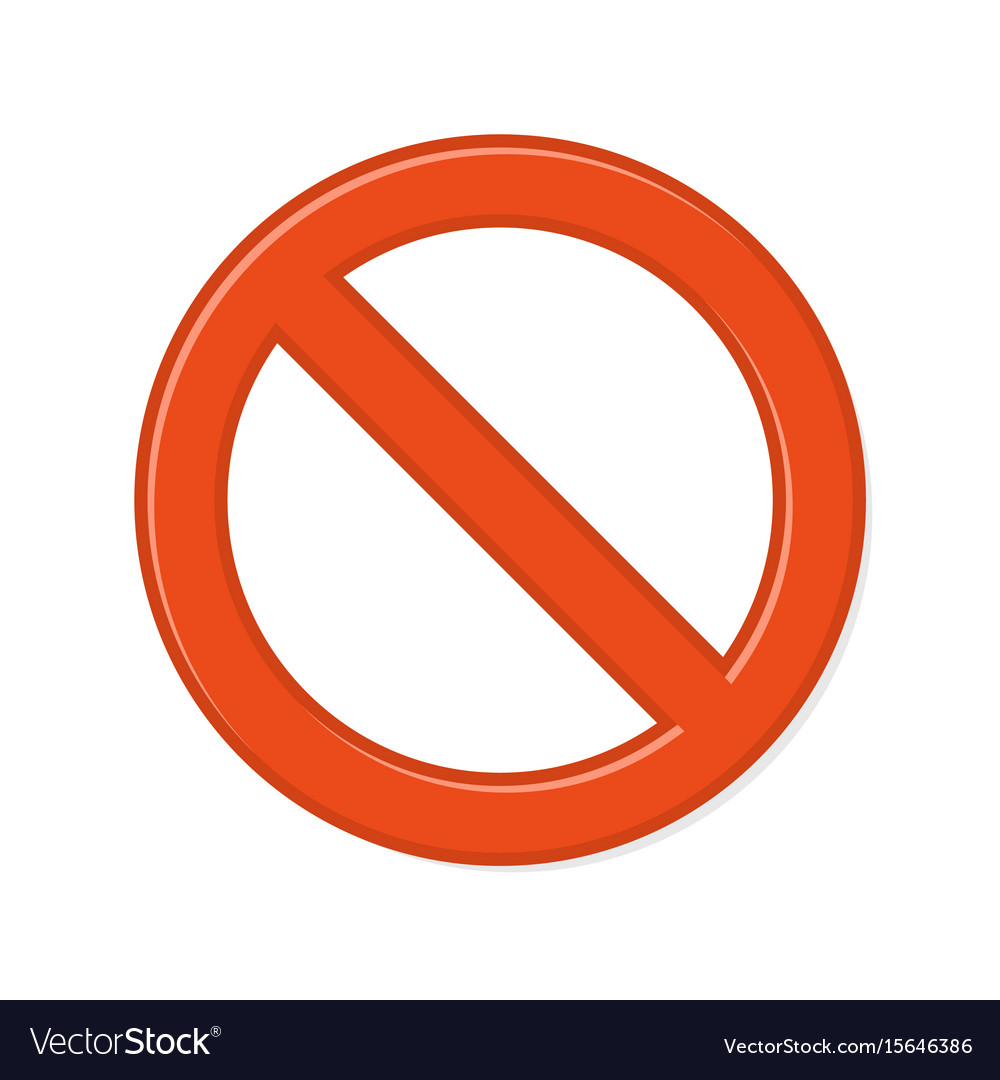 Prohibition sign on white background