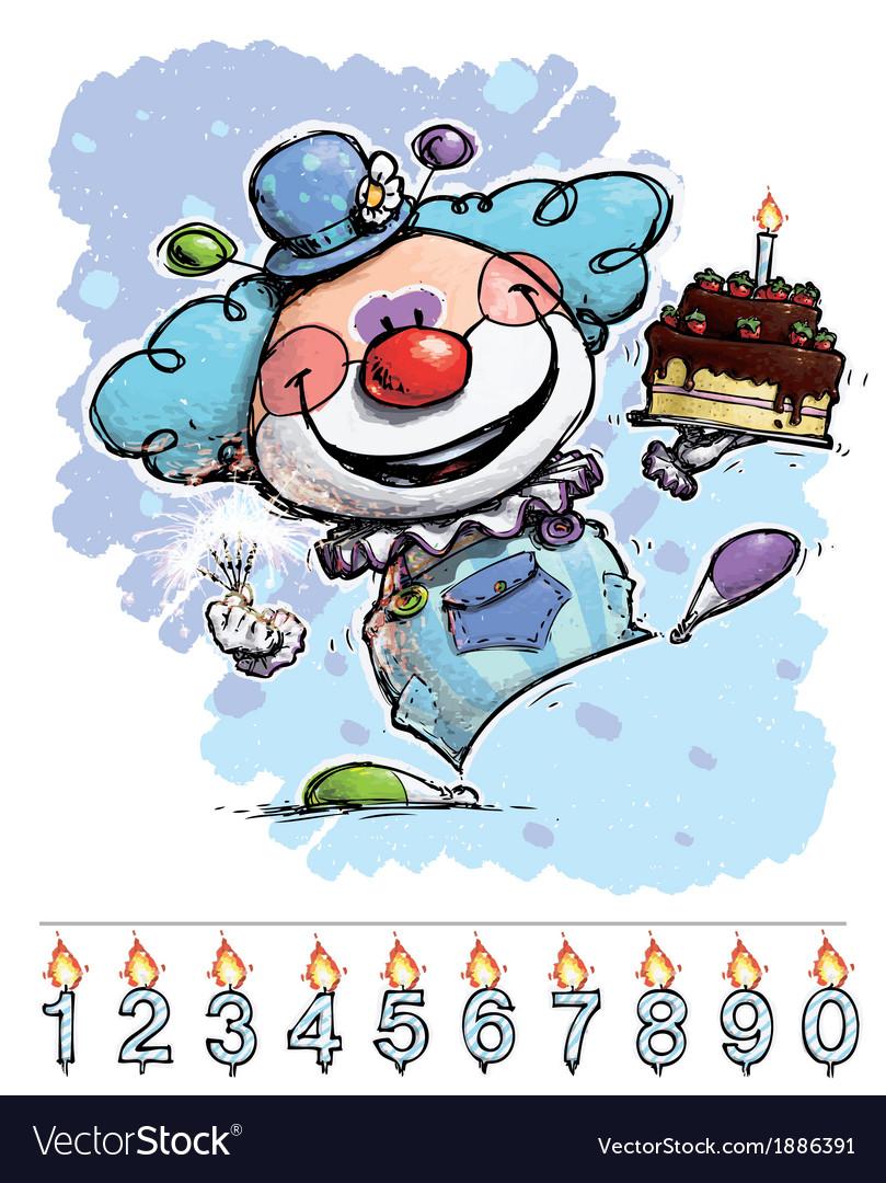 Clown Carrying a Boys Birthday Cake