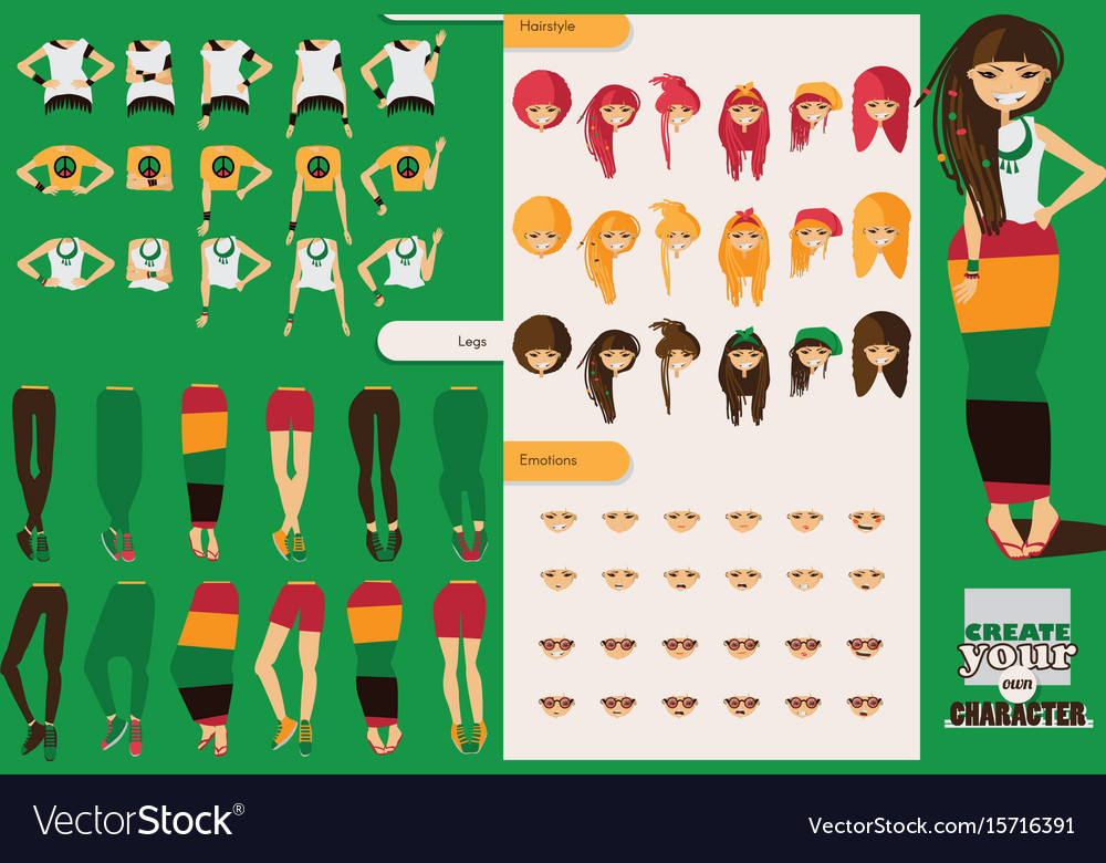 Constructor of rastafarian girl character vector image