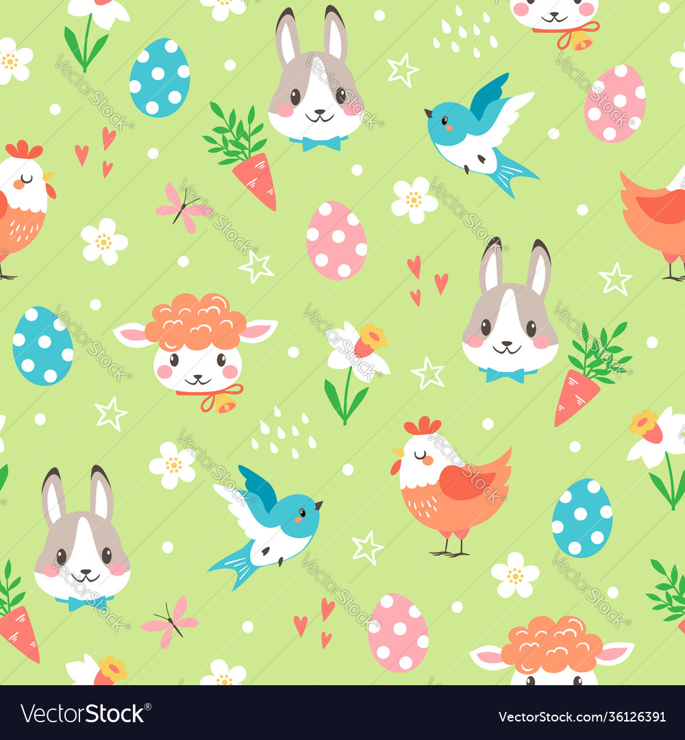 Cute spring pattern with easter cartoon