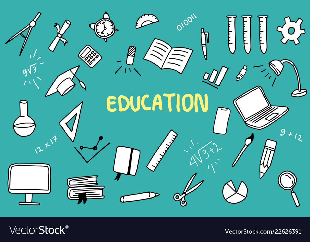Education doodle with color and educations object