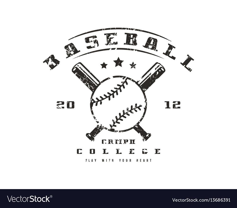 Emblem of baseball college team vector image
