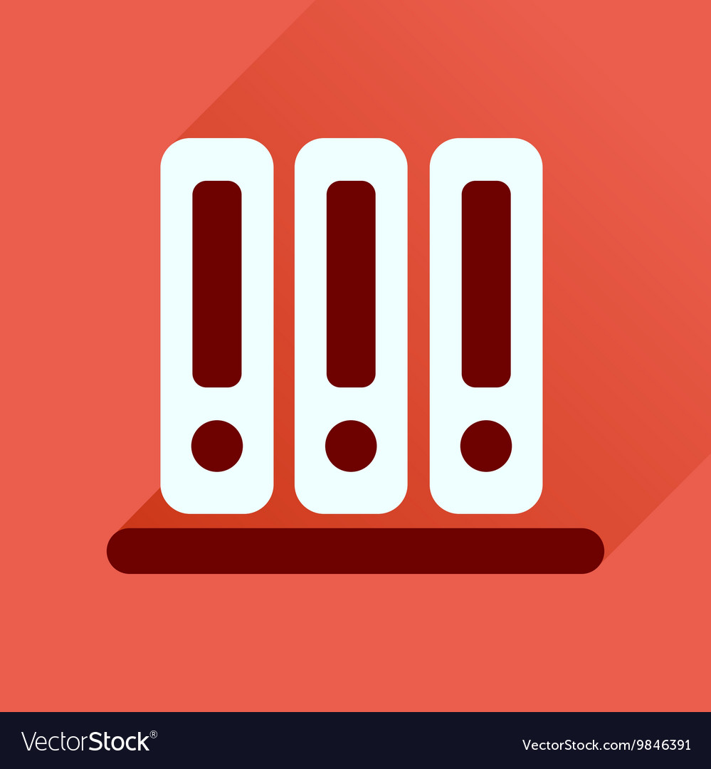 Flat icon with long shadow documents folder