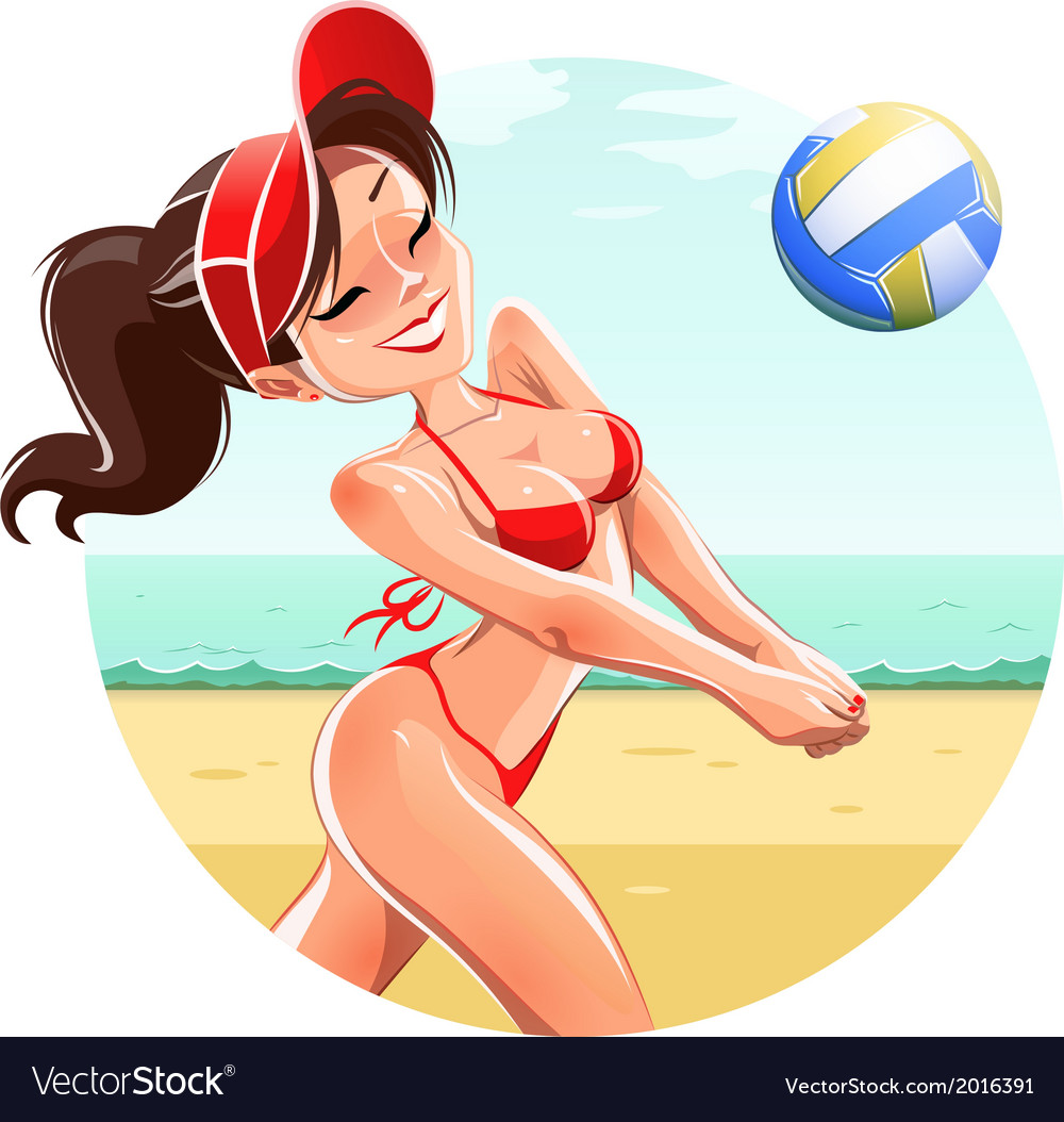 Girl play volleyball on beach