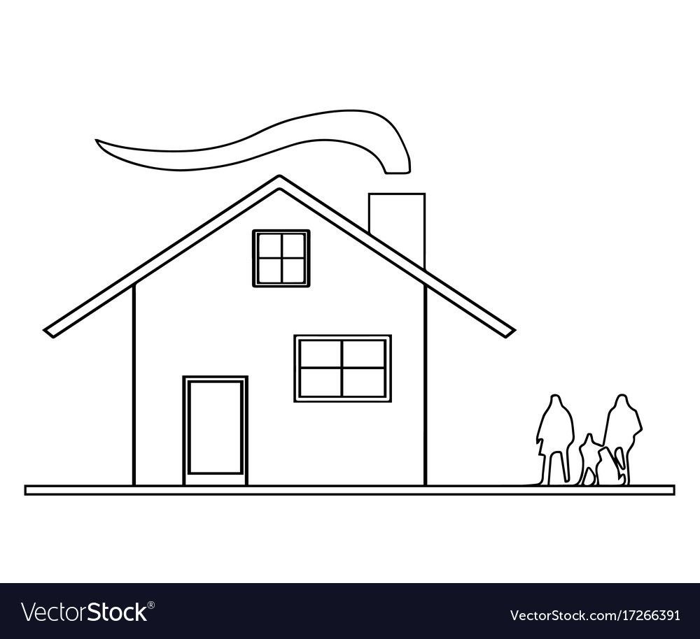 House sketch with smoke from chimney vector image