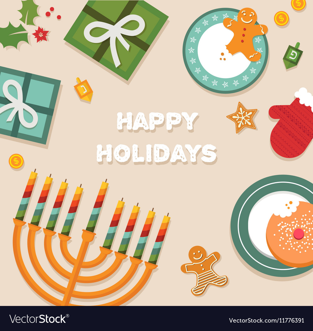 merry christmas and happy hanukkah celebration vector image