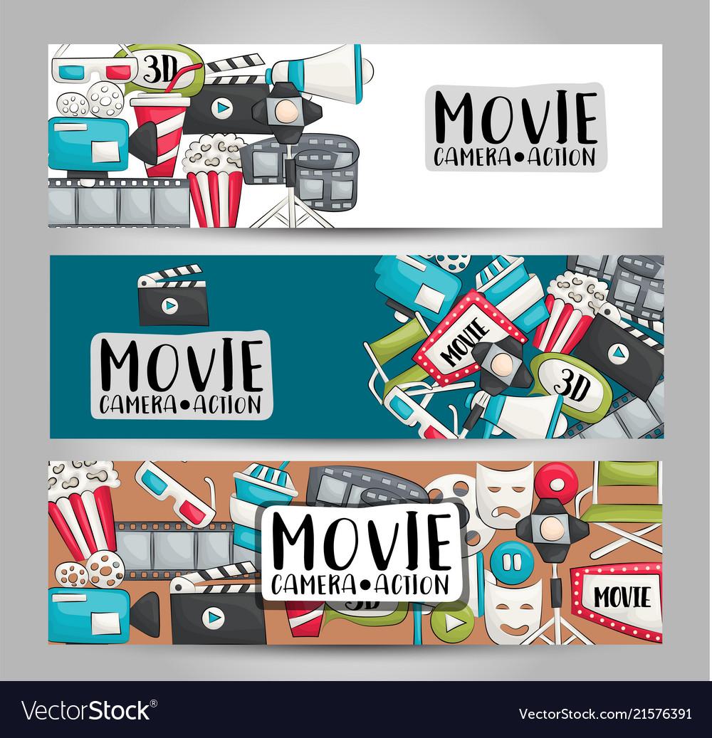 movie cinema theme horizontal banner template set vector image