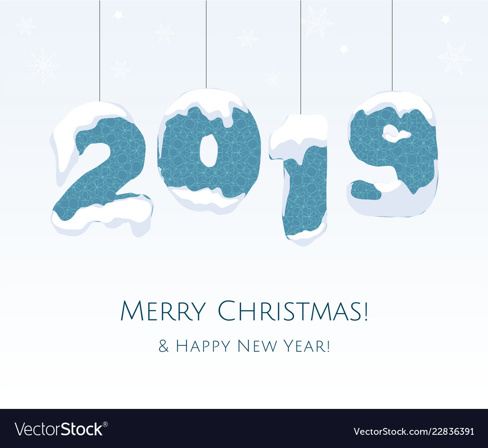 New year 2019 blue year number on white