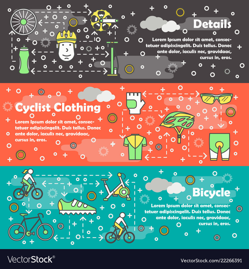 Thin line art bicycle banner template set