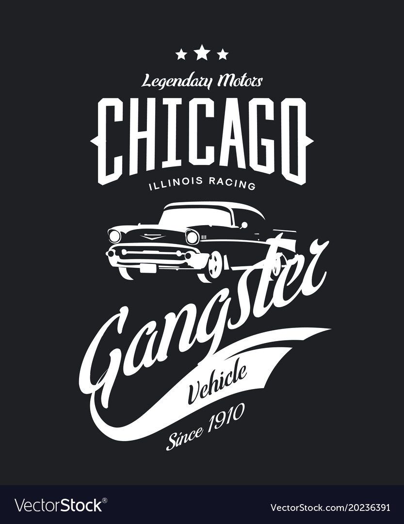 Vintage gangster vehicle logo Royalty Free Vector Image