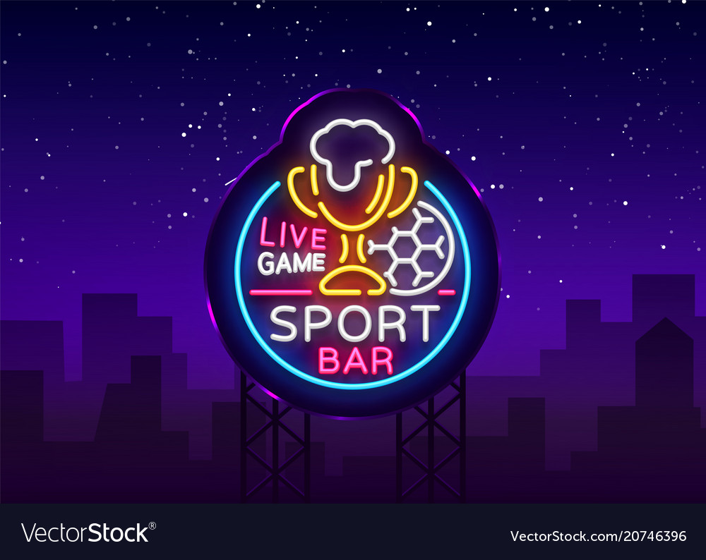Bar bar logo in neon style football fan club