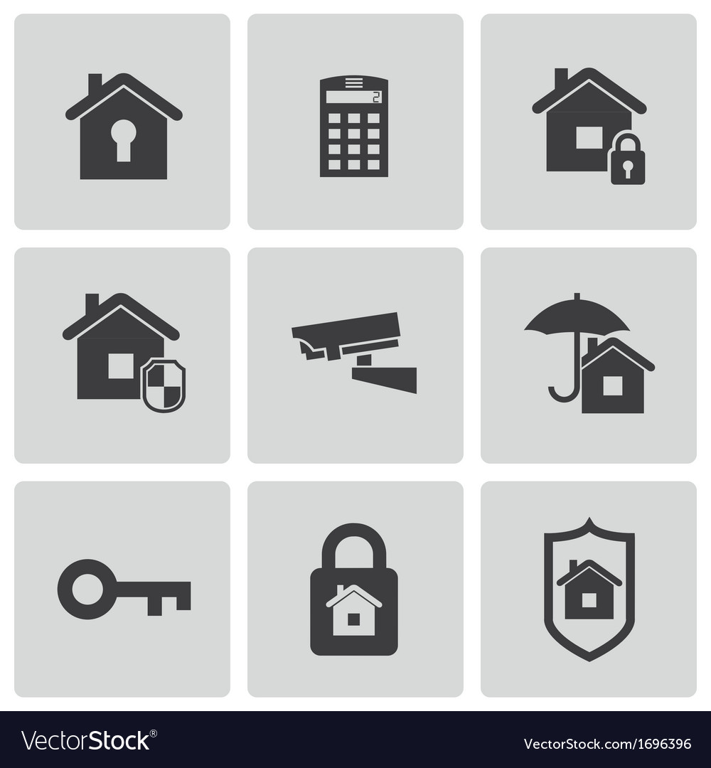 Black home security icons set