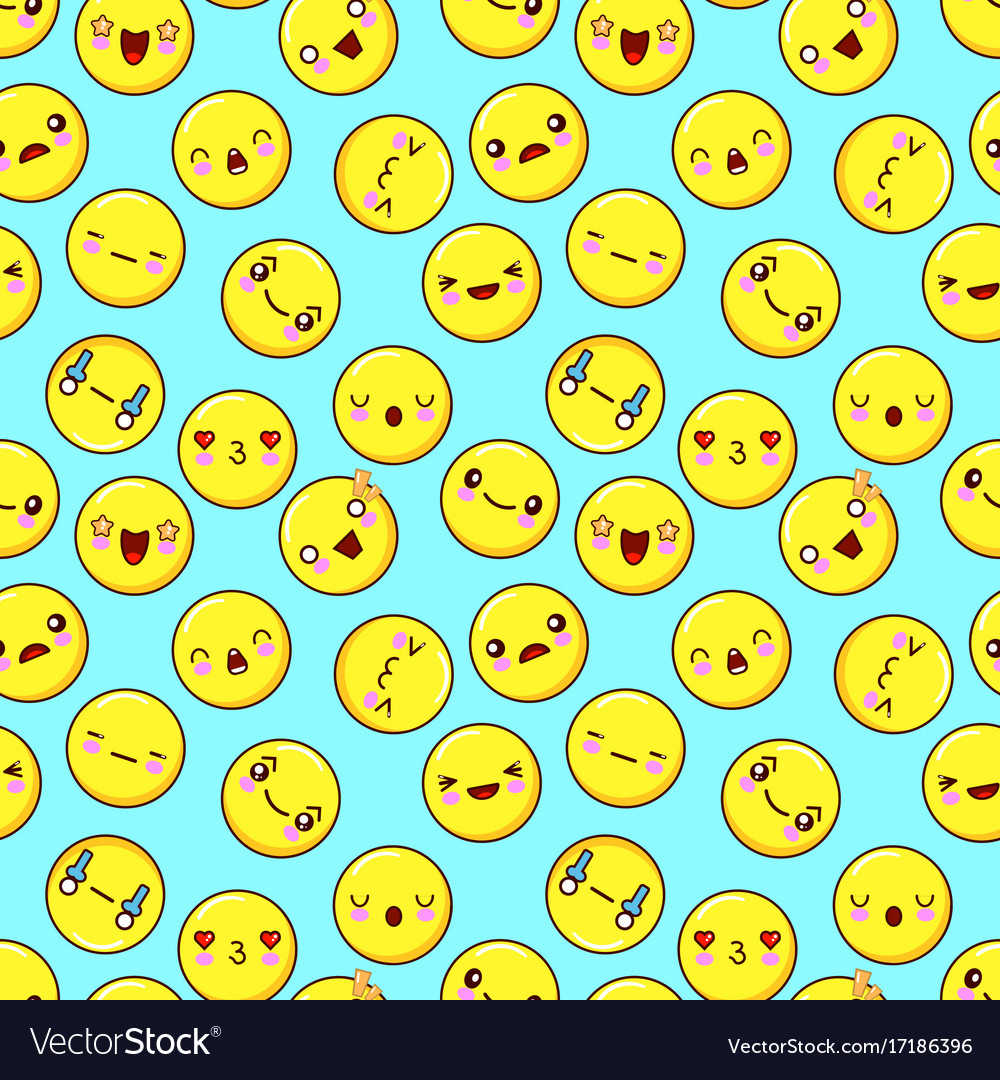 Cute smiley face seamless pattern background vector image voltagebd Image collections