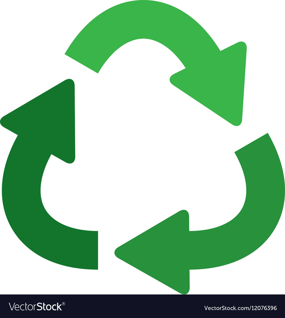 Green separate recycling symbol shape with arrows