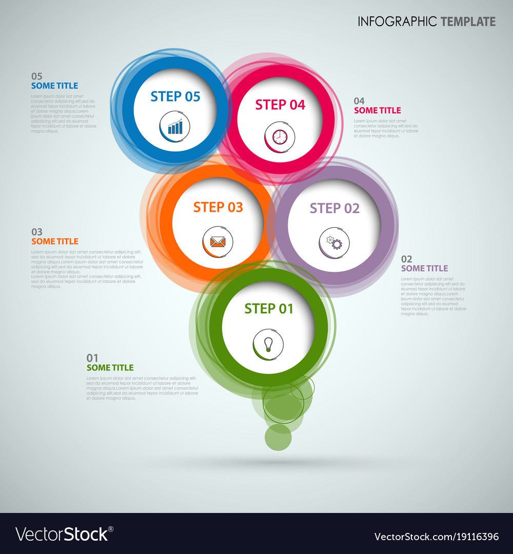Info graphic with colorful abstract round speech