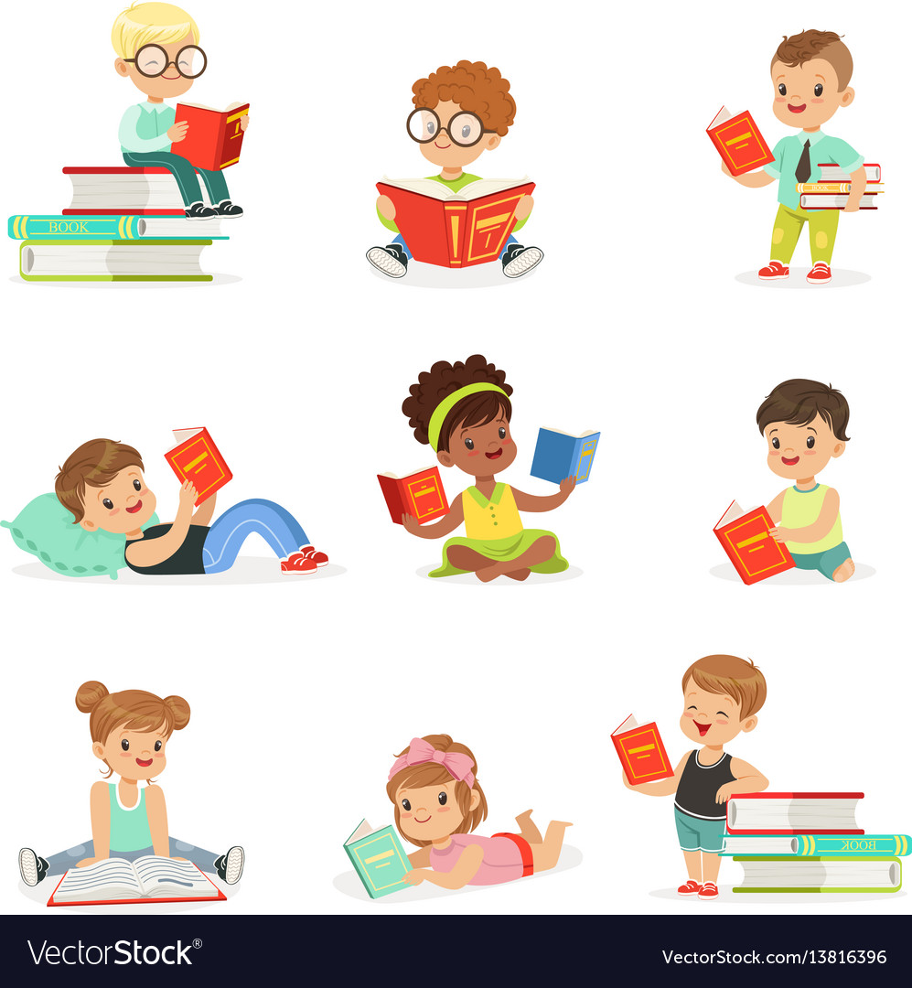 Kids Reading Books And Enjoying Literature