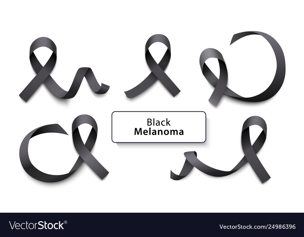 Set black curly ribbons and loops realistic