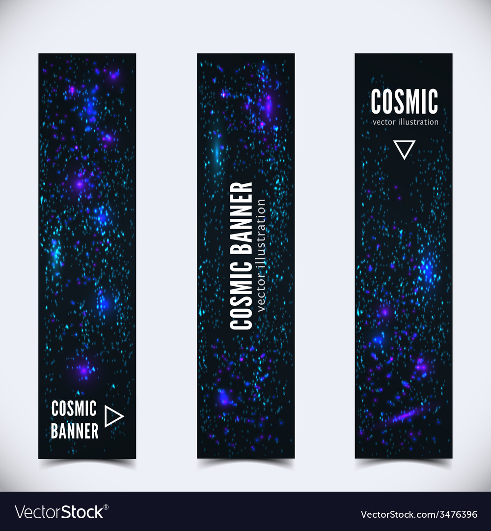 0ebd20ac13 Set of three banners with abstract cosmic Vector Image