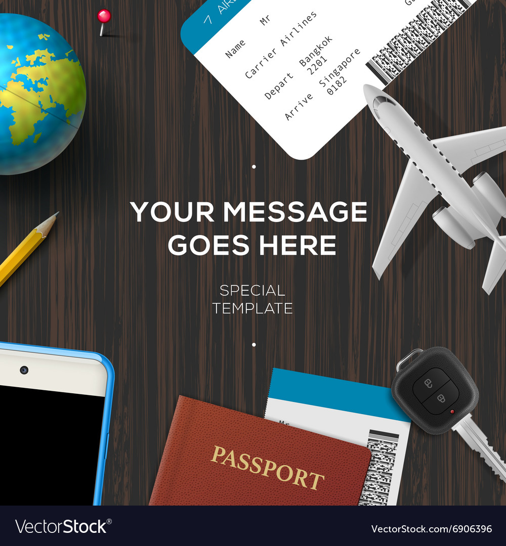 Travelers desktop travel and vacations concept