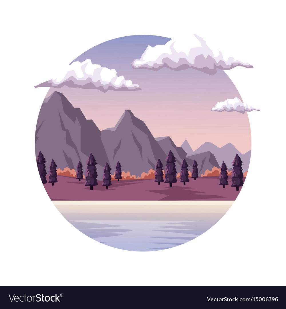White background with dawn landscape in round