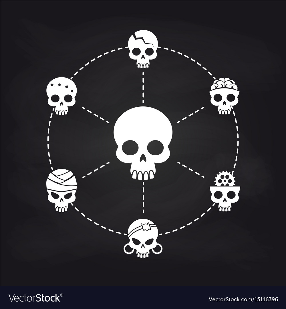 White skull icons concept on chalkboard