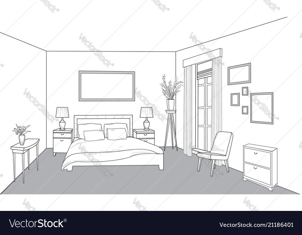 Bedroom furniture interior outline sketch vintage