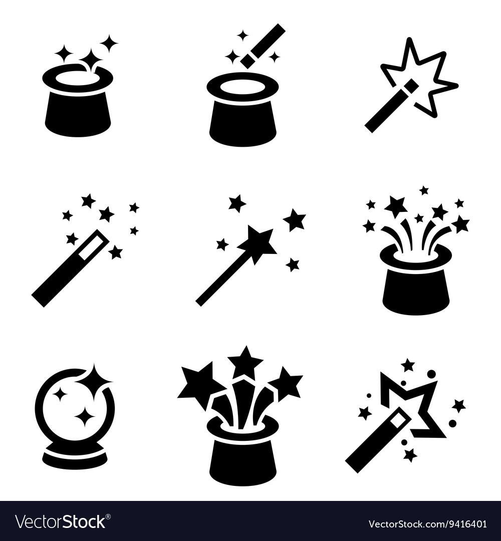 Black magic icons set vector image
