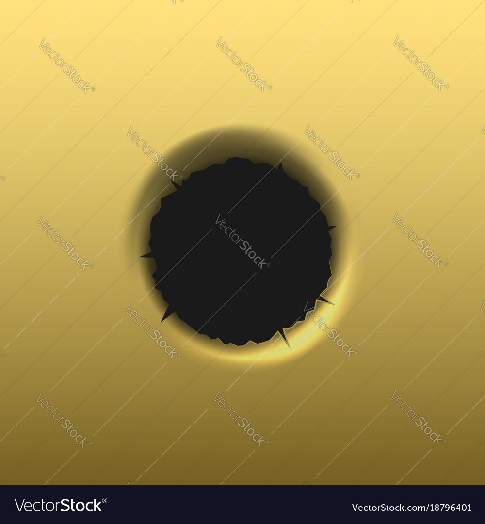 Bullet hole in golden background