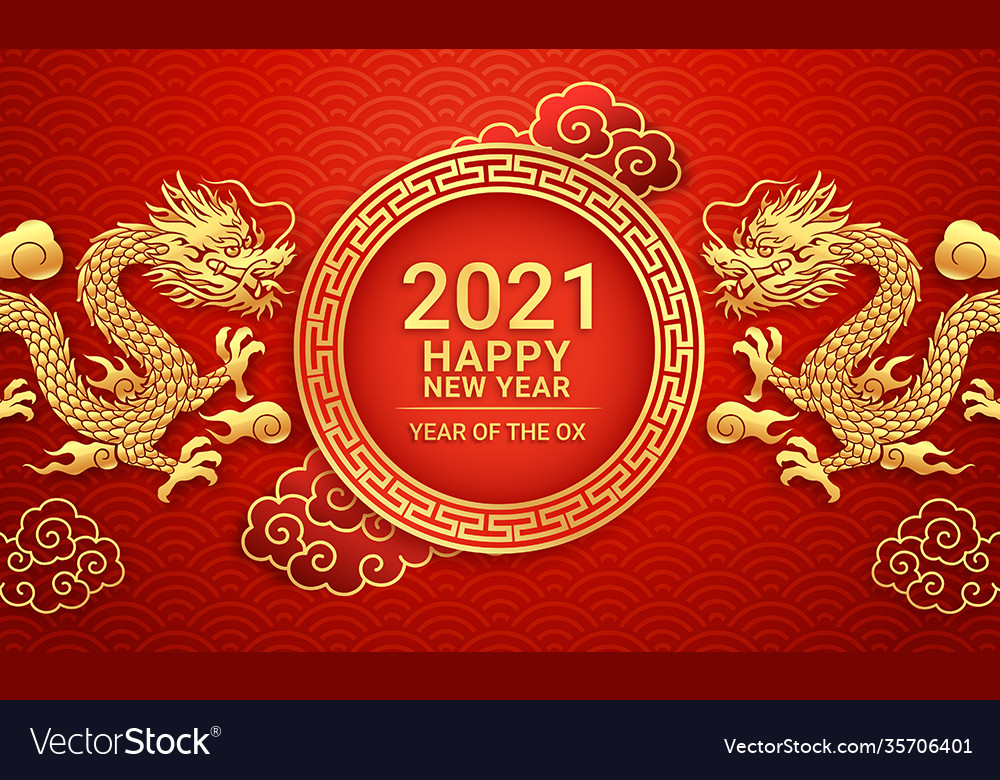 Chinese new year 2021 golden dragon on greeting