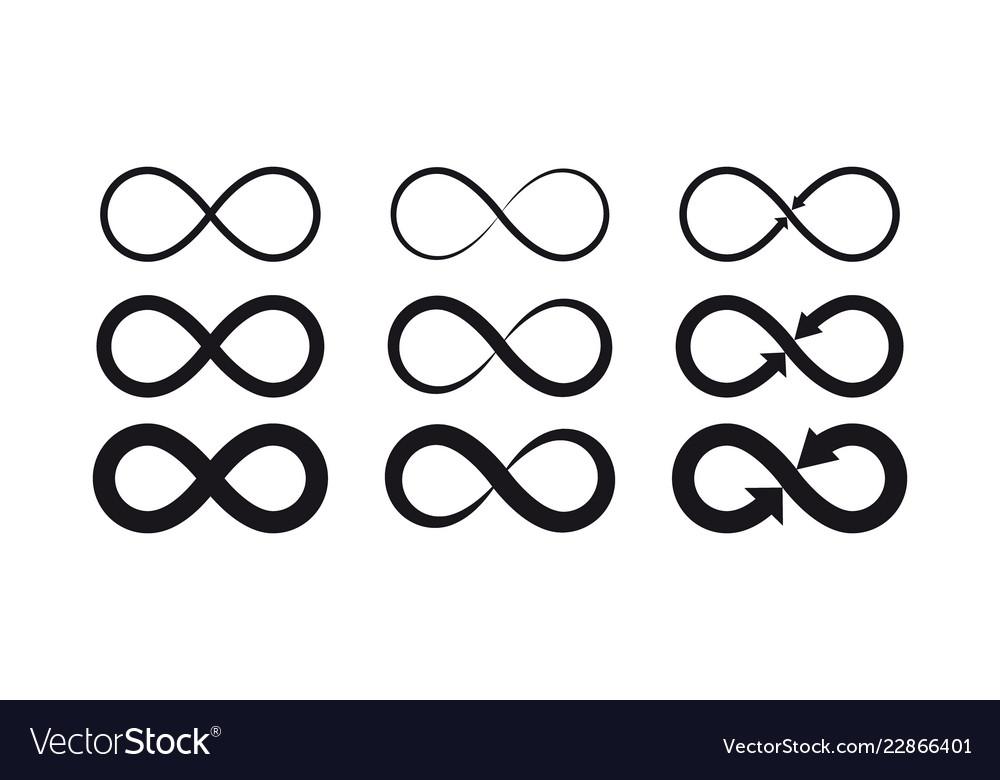 Infinity symbols eternal limitless endless